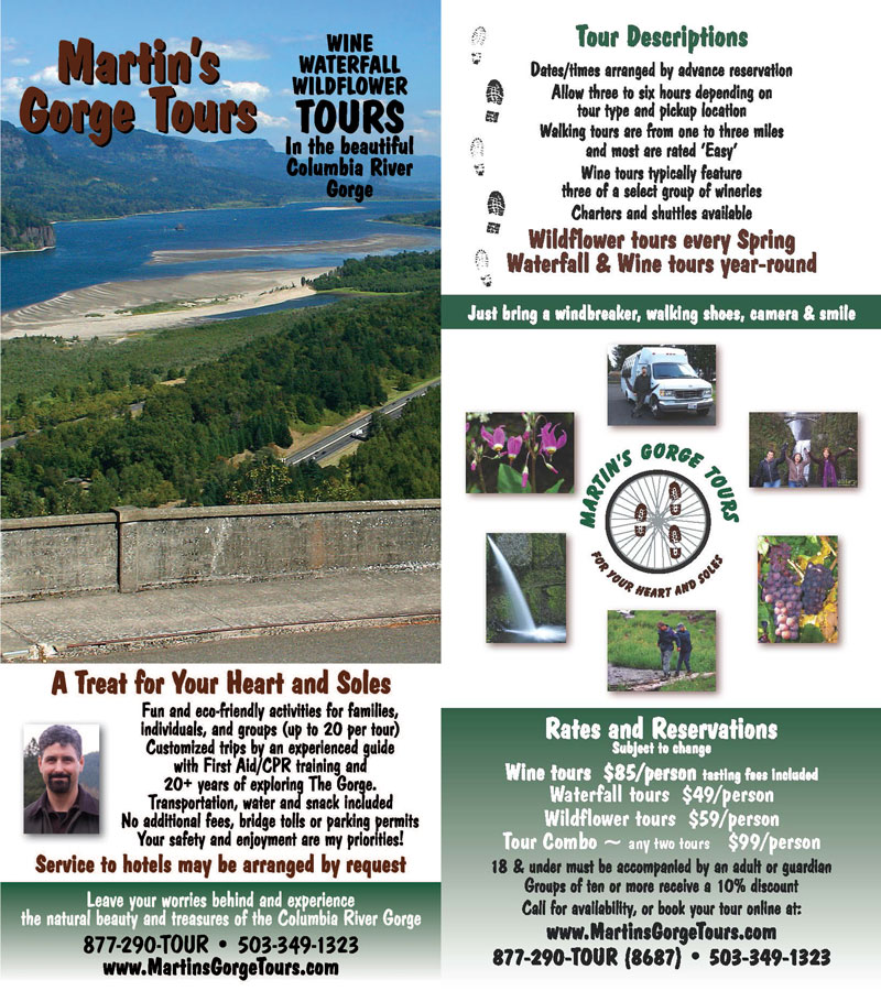 Martin's Gorge Tours Rack Card