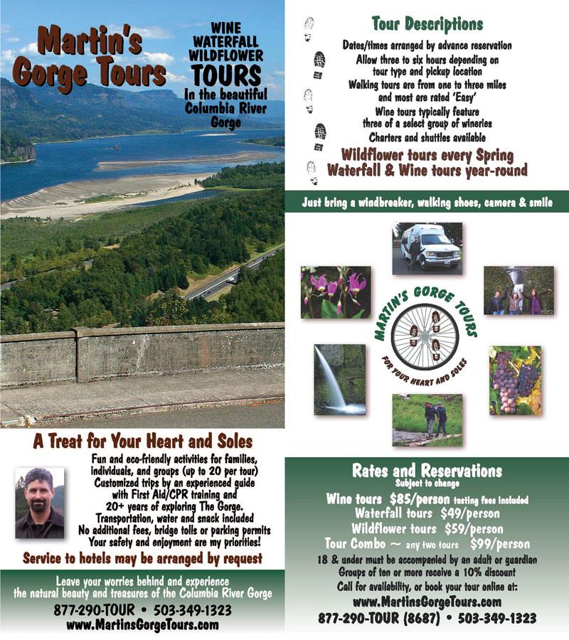 Martin's Gorge Tours Rack Card